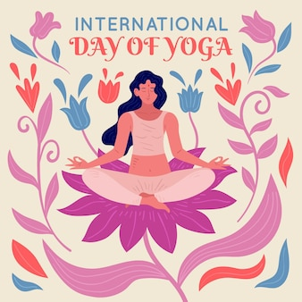 Giornata internazionale dell'illustrazione di yoga disegnata a mano