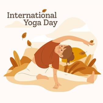 Hand drawn international day of yoga