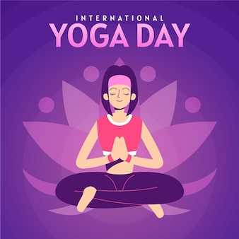 Hand drawn international day of yoga