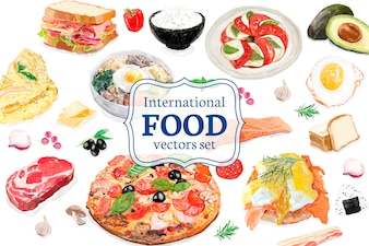 Hand drawn international food watercolor style