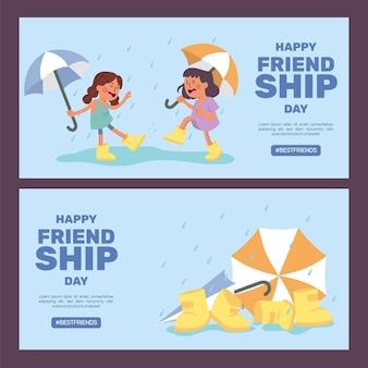 Hand drawn international friendship day banners set Free Vector