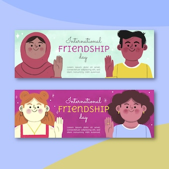 Набор рисованной баннеров международного дня дружбы