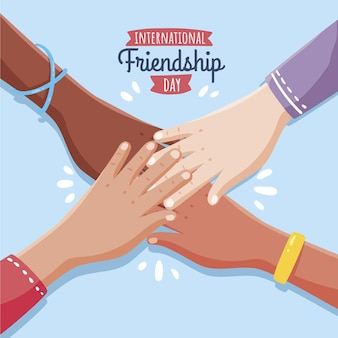 Hand drawn international friendship day illustration Free Vector