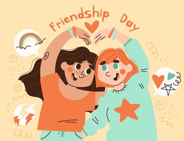 Hand drawn international friendship day illustration