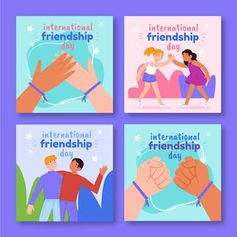 Raccolta di post di instagram di giornata internazionale dell'amicizia disegnata a mano