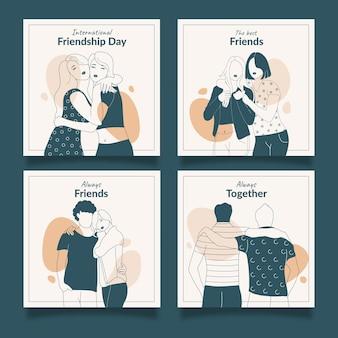 Hand drawn international friendship day instagram posts collection
