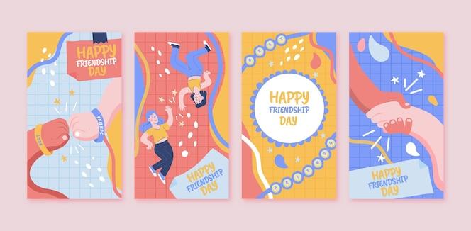 手描きの国際フレンドシップデーのinstagramストーリーコレクション