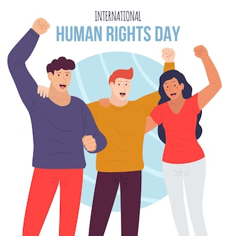 Hand drawn international human right day