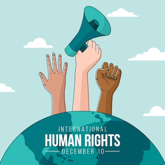 Hand drawn international human rights day background