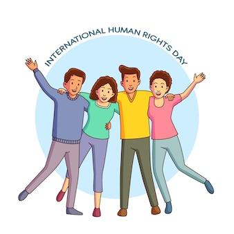 Giornata internazionale dei diritti umani disegnata a mano