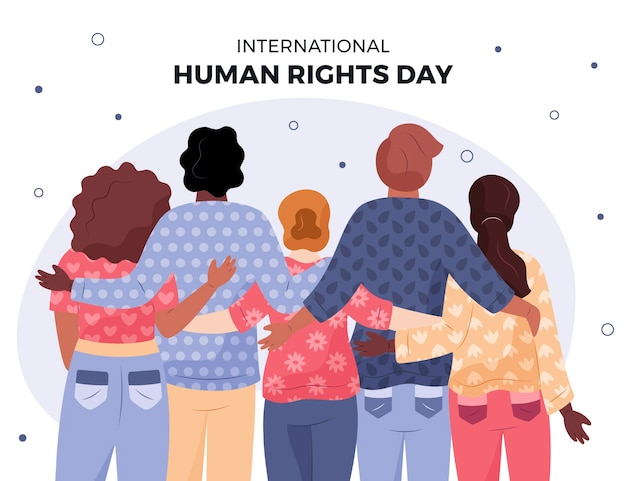 Hand drawn international human rights day