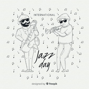 Hand drawn international jazz day background
