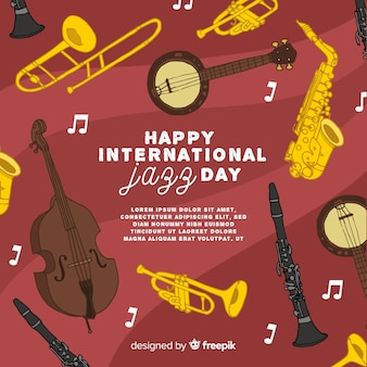 Hand drawn international jazz day background