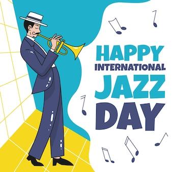 Рисованное празднование международного дня джаза