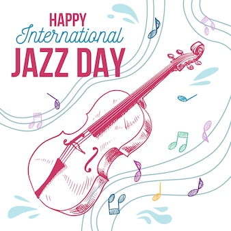 Hand drawn international jazz day concept
