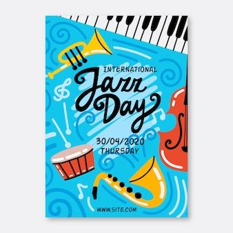 Hand drawn international jazz day flyer template