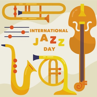 Hand drawn international jazz day illustration instruments