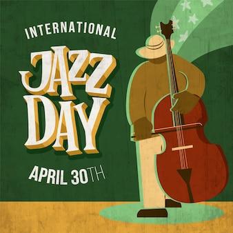チェロを弾く男と手描き国際ジャズデーイラスト
