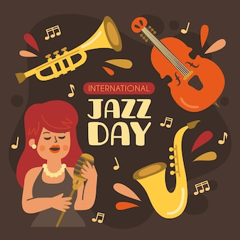 Нарисованная рукой иллюстрация международного дня джаза с музыкальными инструментами и поющей женщиной