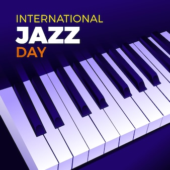ピアノの鍵盤と手描きの国際ジャズデーのイラスト