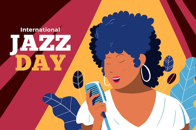 Hand drawn international jazz day illustration
