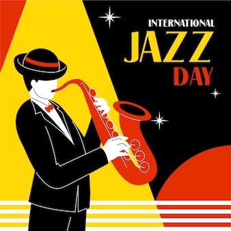 Нарисованная рукой иллюстрация международного дня джаза Premium векторы