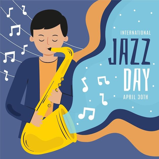 Hand drawn international jazz day illustration