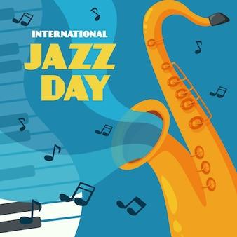 Нарисованная рукой иллюстрация международного дня джаза