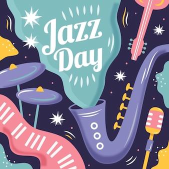 Нарисованная рукой иллюстрация международного дня джаза Бесплатные векторы