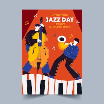 Hand drawn international jazz day poster template