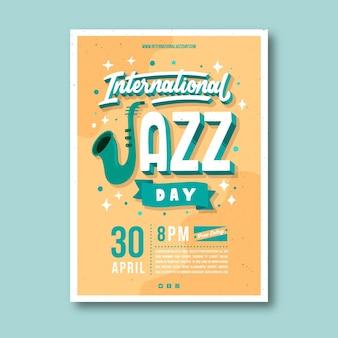 손으로 그린 국제 재즈 데이 포스터 템플릿
