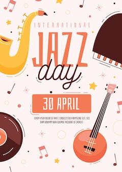 Hand drawn international jazz day poster template