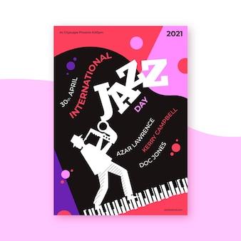 Ручной обращается шаблон плаката международного дня джаза Premium векторы