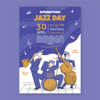 Hand-drawn international jazz day template design