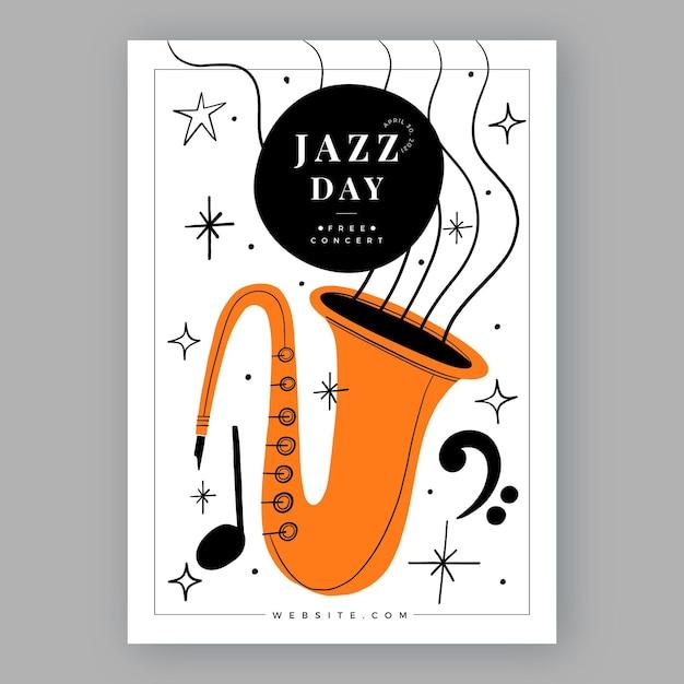 Hand drawn international jazz day vertical poster template