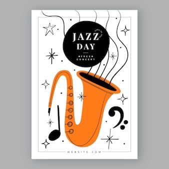 손으로 그린 국제 재즈 데이 세로 포스터 템플릿