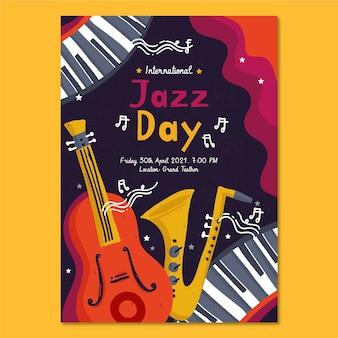 Ручной обращается шаблон вертикального плаката международного дня джаза