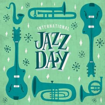 Ручной обращается международный день джаза с иллюстрированными инструментами