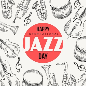 Hand drawn international jazz day
