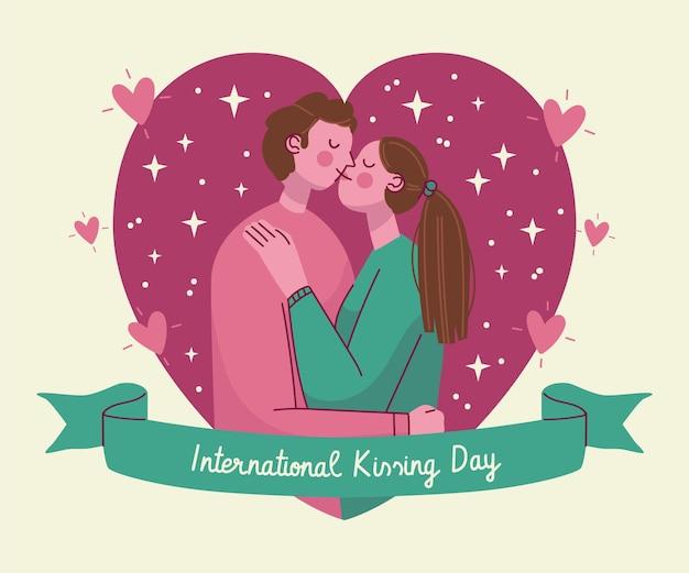 カップルと手描き国際キスの日のイラスト