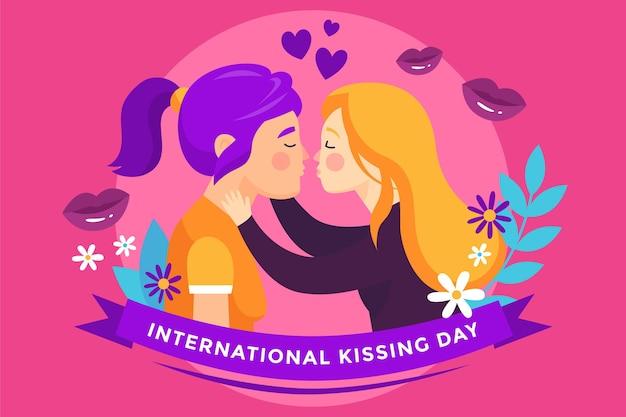 女性カップルと手描きの国際的なキスの日のイラスト