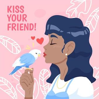 Нарисованная рукой иллюстрация международного дня поцелуев с женщиной и птицей