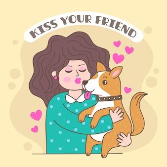 Illustrazione disegnata a mano di giorno di bacio internazionale con donna e cane