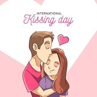 手描き国際キスの日のイラスト