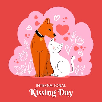 手描き国際キスの日のイラスト 無料ベクター