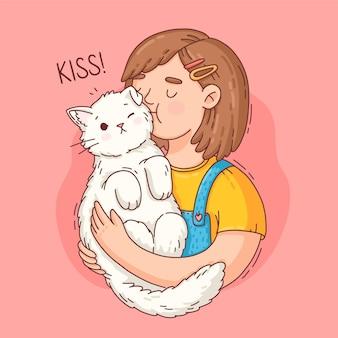 Нарисованная рукой иллюстрация международного дня поцелуев