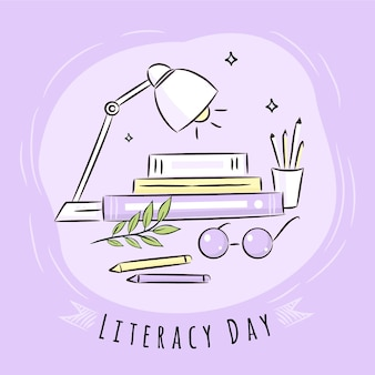 Hand drawn international literacy day background