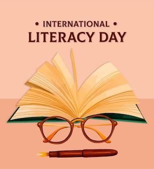 Hand drawn international literacy day background