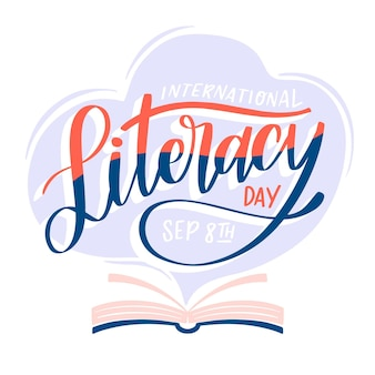 Hand drawn international literacy day with book