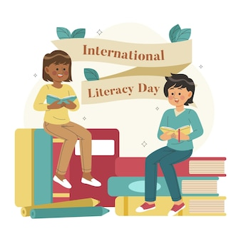 Hand drawn international literacy day with characters